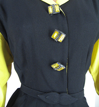 40s glamorous yellow and black dress